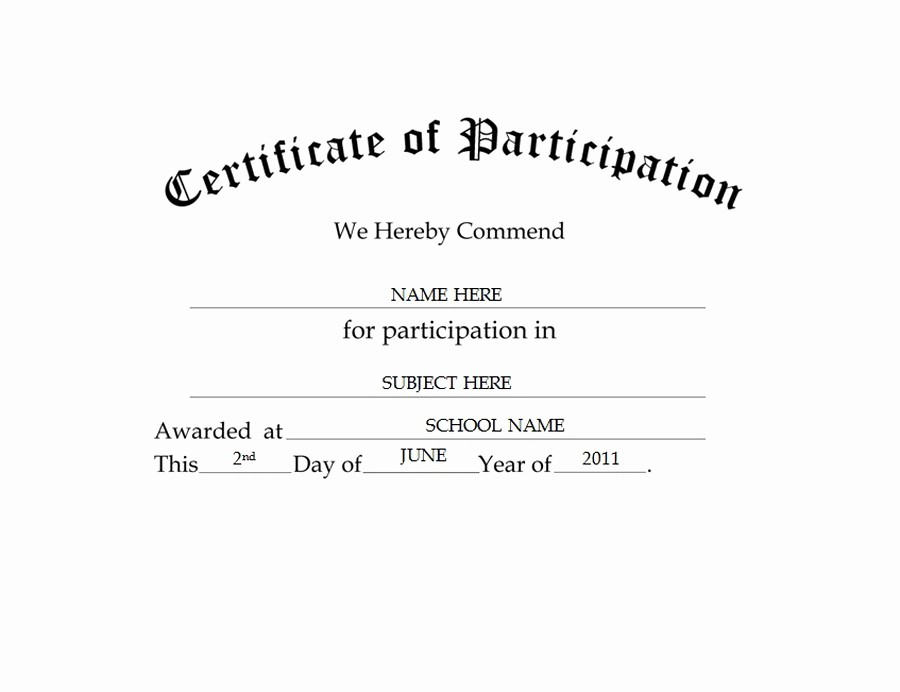 Certificate Of Participation Wording Samples Best Of Certificate Of Participation Free Templates Clip Art