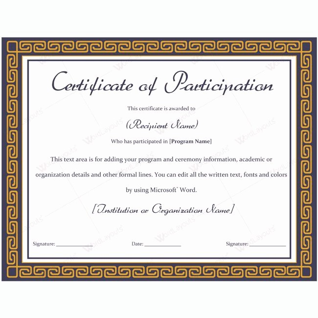 Certificate Of Participation Wording Samples Elegant 7 Certificate Participation Wording Samples — Rapic Design