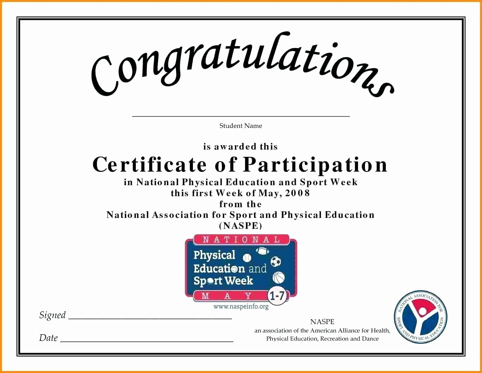 Certificate Of Participation Wording Samples Fresh Certificate Participation Sample Content Fresh