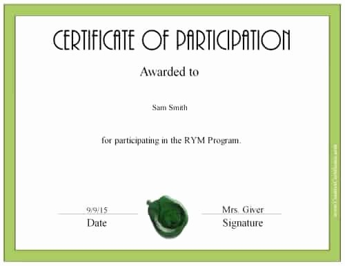 Certificate Of Participation Wording Samples Fresh Free Certificate Of Participation