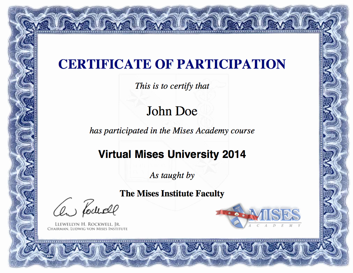 Certificate Of Participation Wording Samples Fresh Virtual Mises University