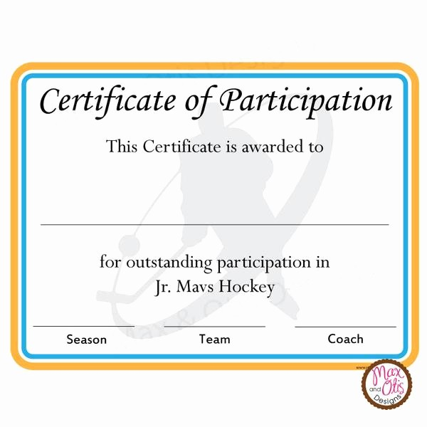 Certificate Of Participation Wording Samples Inspirational Hockey Certificate Of Participation Editable Pdf – Max