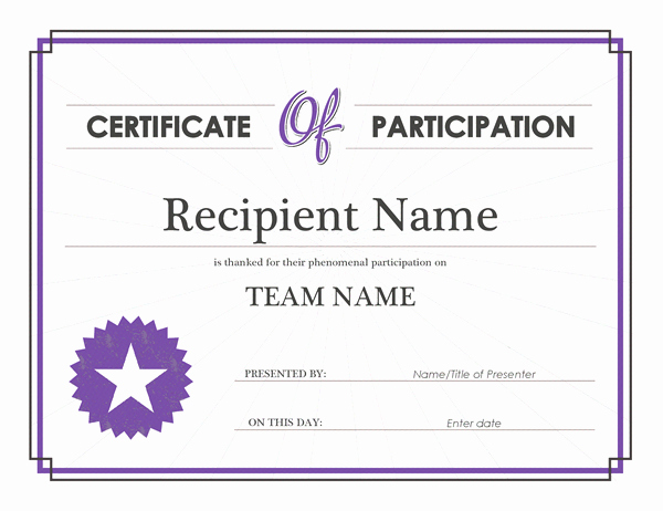 Certificate Of Participation Wording Samples New Printable Participation Templates
