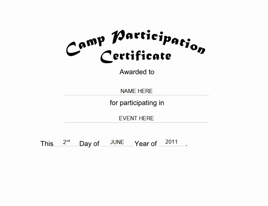 Certificate Of Participation Wording Samples Unique Camp Participation Certificate Free Templates Clip Art