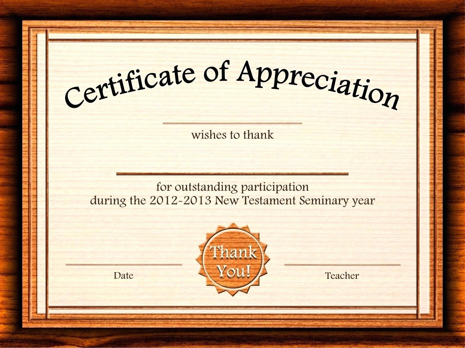 Certificate Of Recognition Editable Template Awesome Template Editable Certificate Appreciation Template