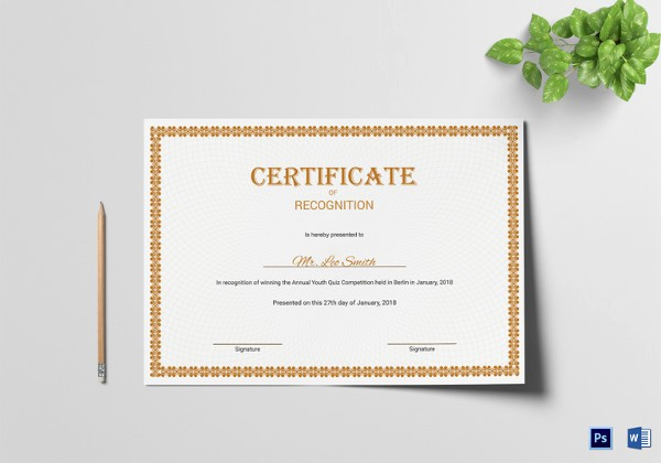 Certificate Of Recognition Editable Template Best Of 83 Psd Certificate Templates