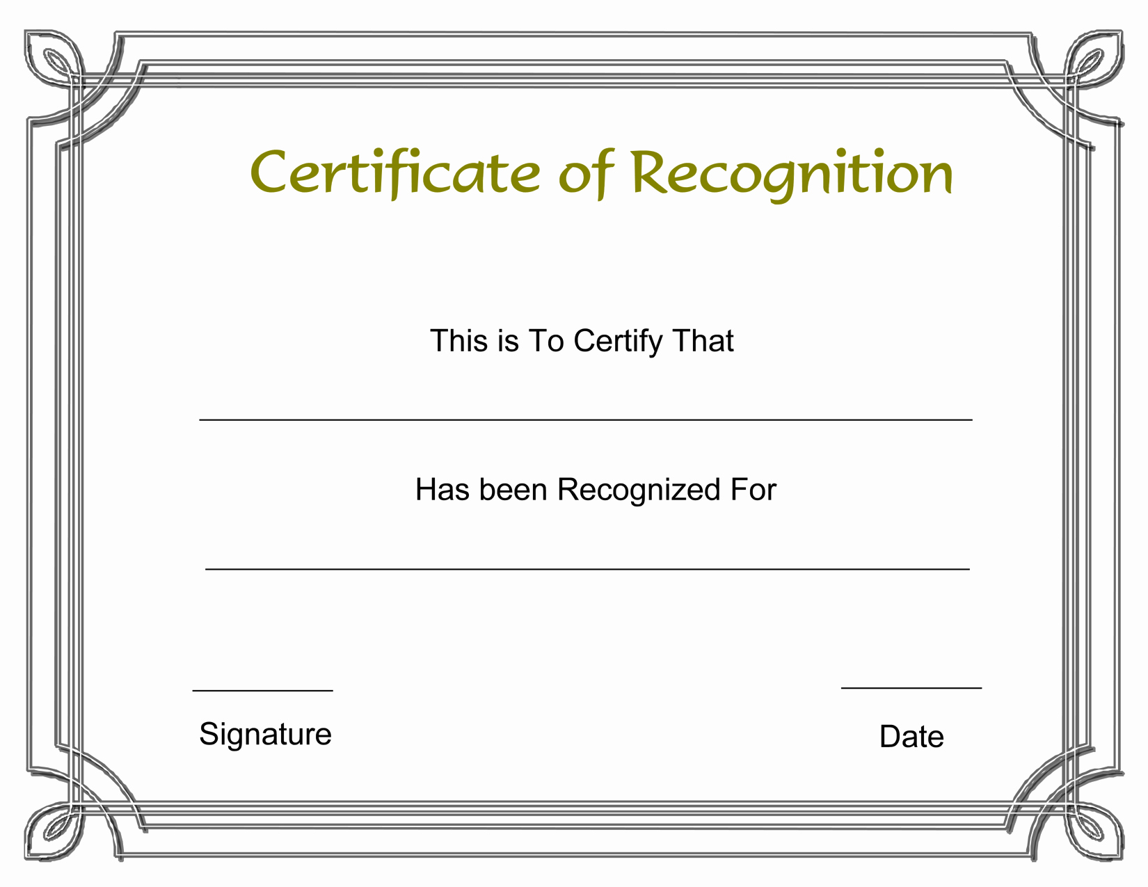 Certificate Of Recognition Editable Template Inspirational 8 Best Of Recognition Award Certificate Templates