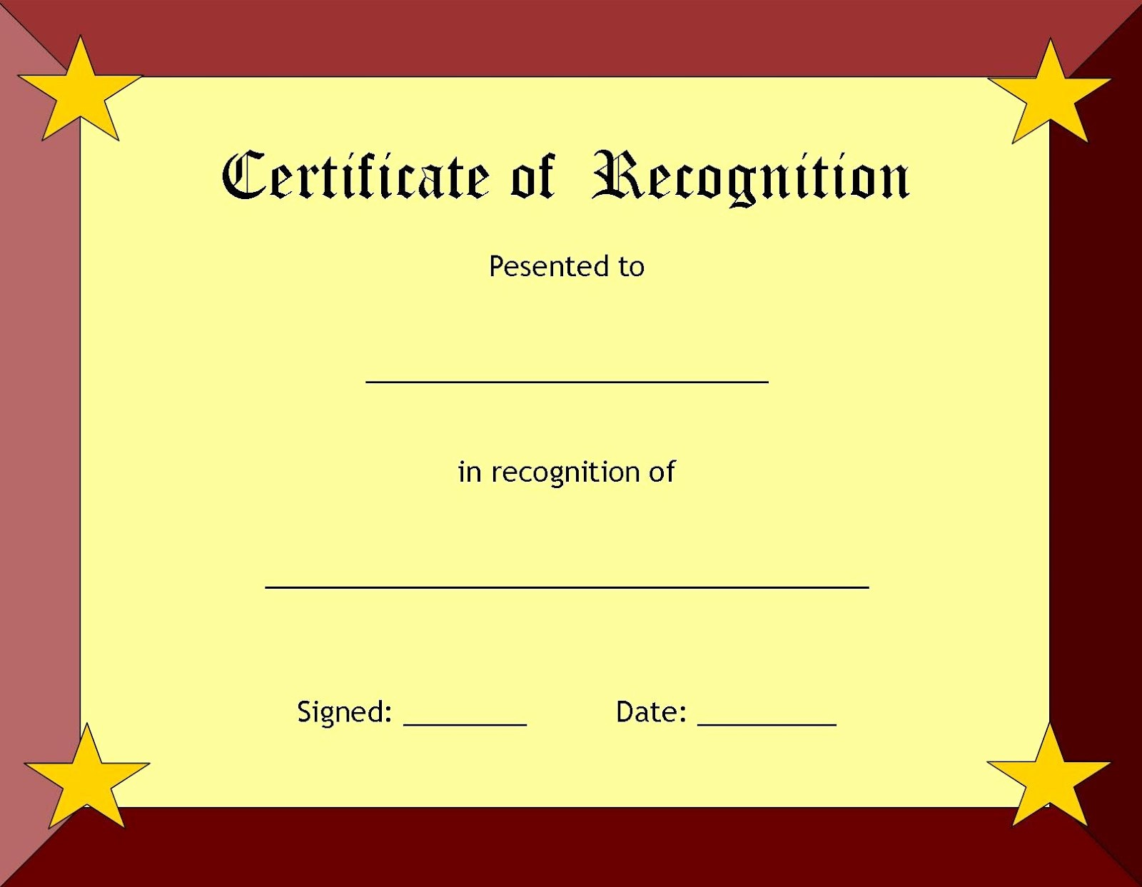 Certificate Of Recognition Editable Template Inspirational Blank Certificate Templates