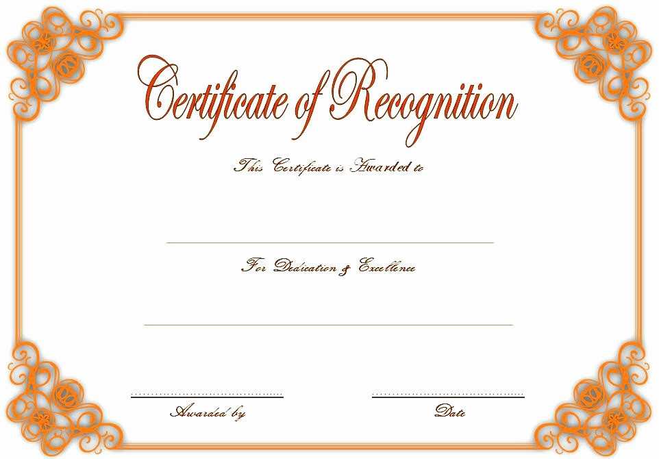 Certificate Of Recognition Editable Template Lovely Printable Illustration Appreciation Certificate Template