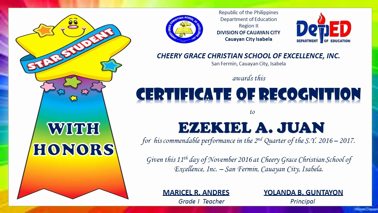 Certificate Of Recognition Editable Template New Sample Certificate Recognition with Honors