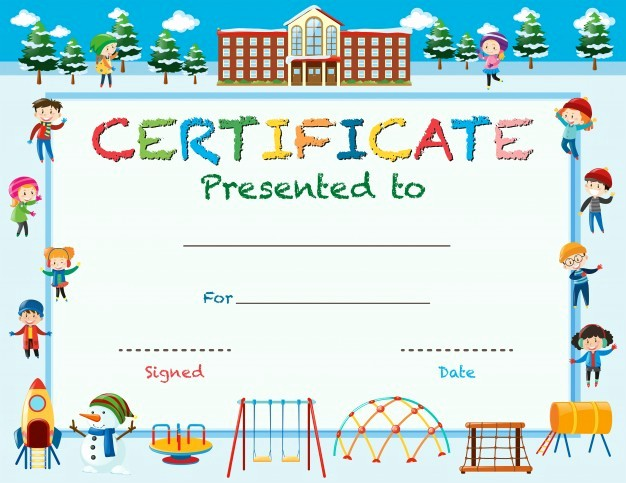 Certificate Of Recognition for Kids Beautiful Certificate Template with Kids In Winter at School Vector