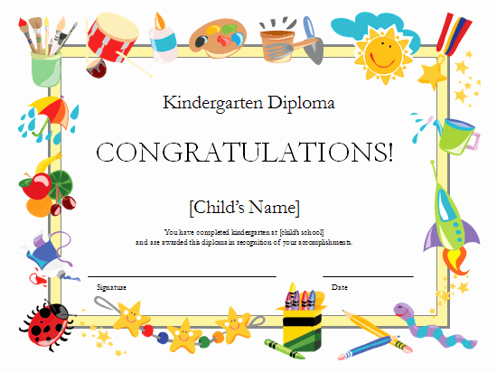 Certificate Of Recognition for Kids Beautiful Kindergarten Diploma Certificate