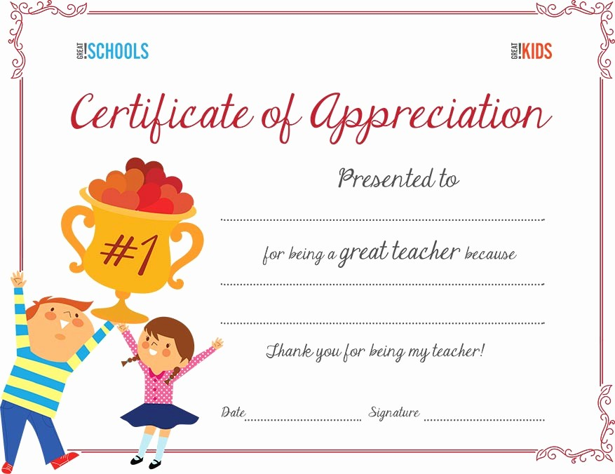 Certificate Of Recognition for Kids Elegant Teacher Appreciation Certificate