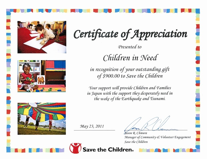 Certificate Of Recognition for Kids Fresh Certificates From Save the Childern