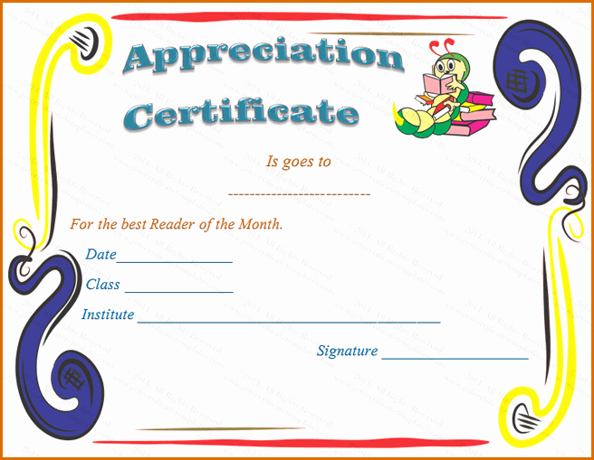 Certificate Of Recognition for Kids Lovely 9 Certificate Of Appreciation Templates