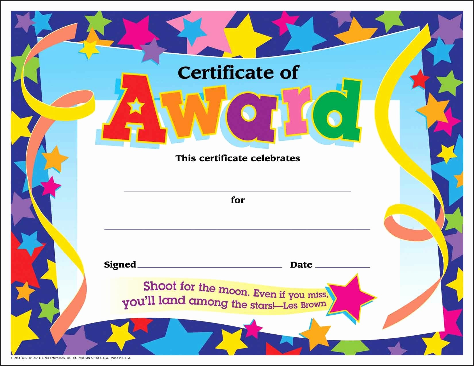 Certificate Of Recognition for Kids Lovely Certificate Template for Kids Free Certificate Templates