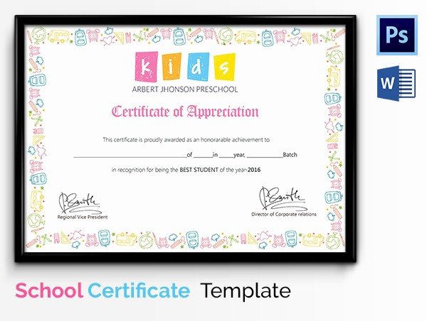 Certificate Of Recognition for Kids Lovely School Certificate Template 17 Free Word Psd format