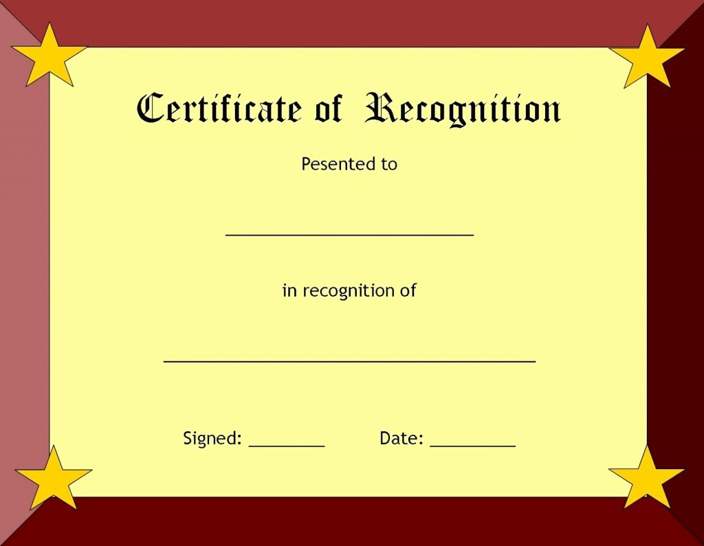 Certificate Of Recognition for Kids New Blank Certificate Templates