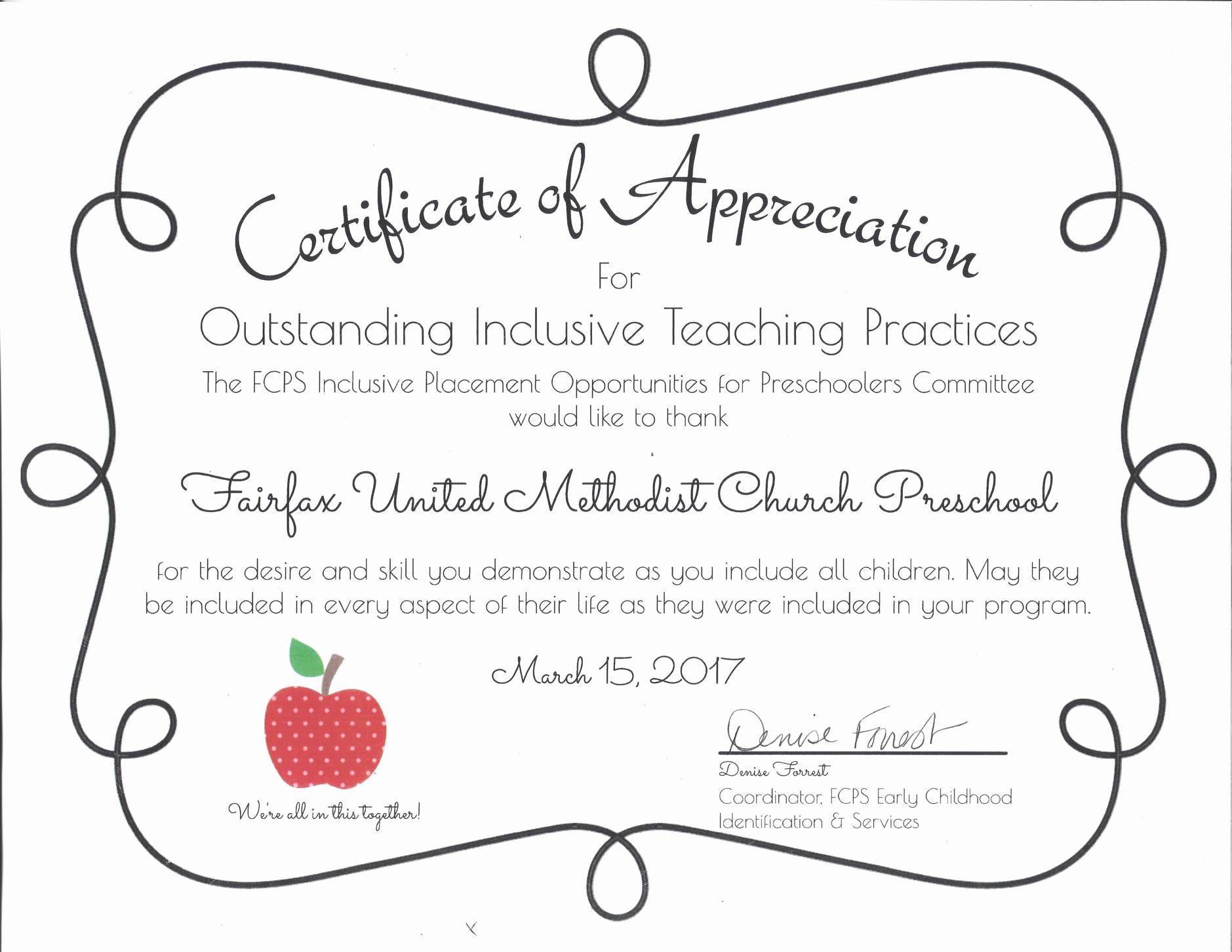 Certificate Of Recognition for Kids Unique Fumc Preschool Fairfax United Methodist Church