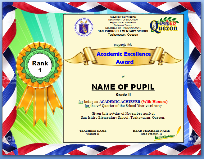 Certificate Of Recognition for Kids Unique Procedure On Ranking Pupils Excellence Award Certificate