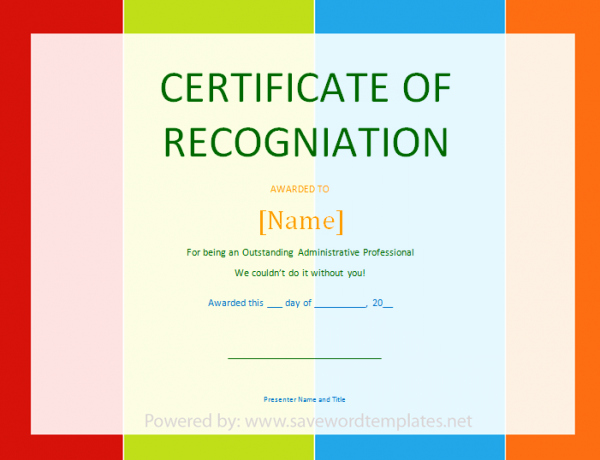 Certificate Of Recognition Template Word Awesome Certificate Of Recognition