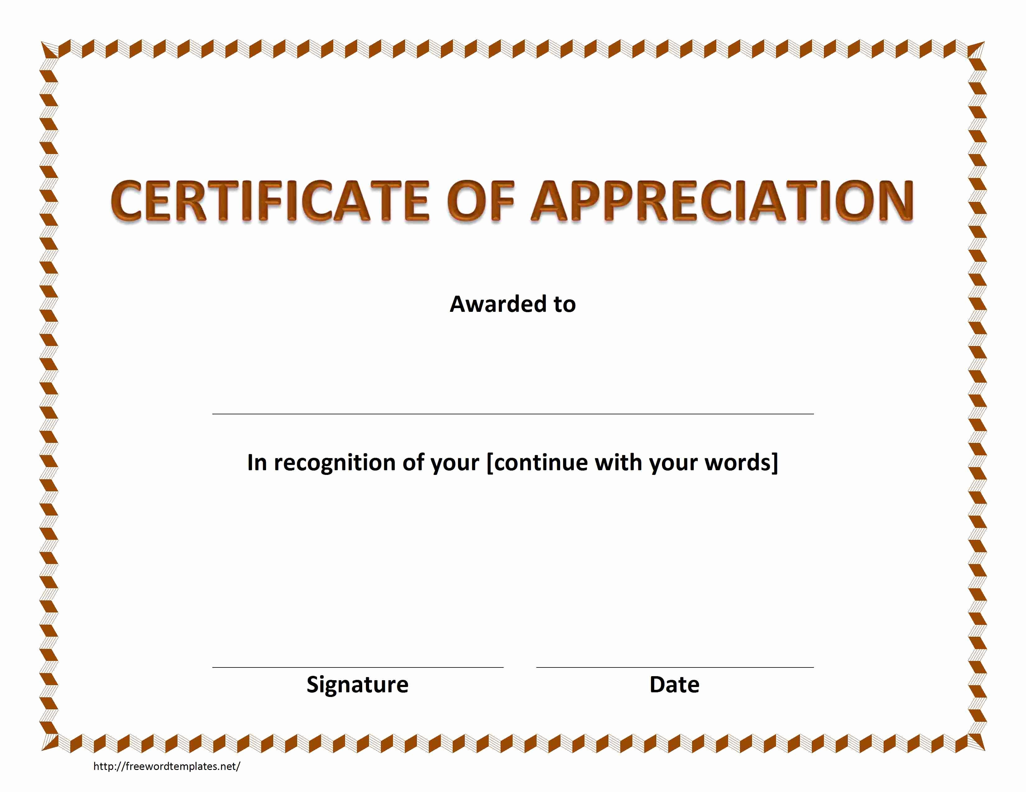 Certificate Of Recognition Template Word Inspirational Certificate Of Appreciation