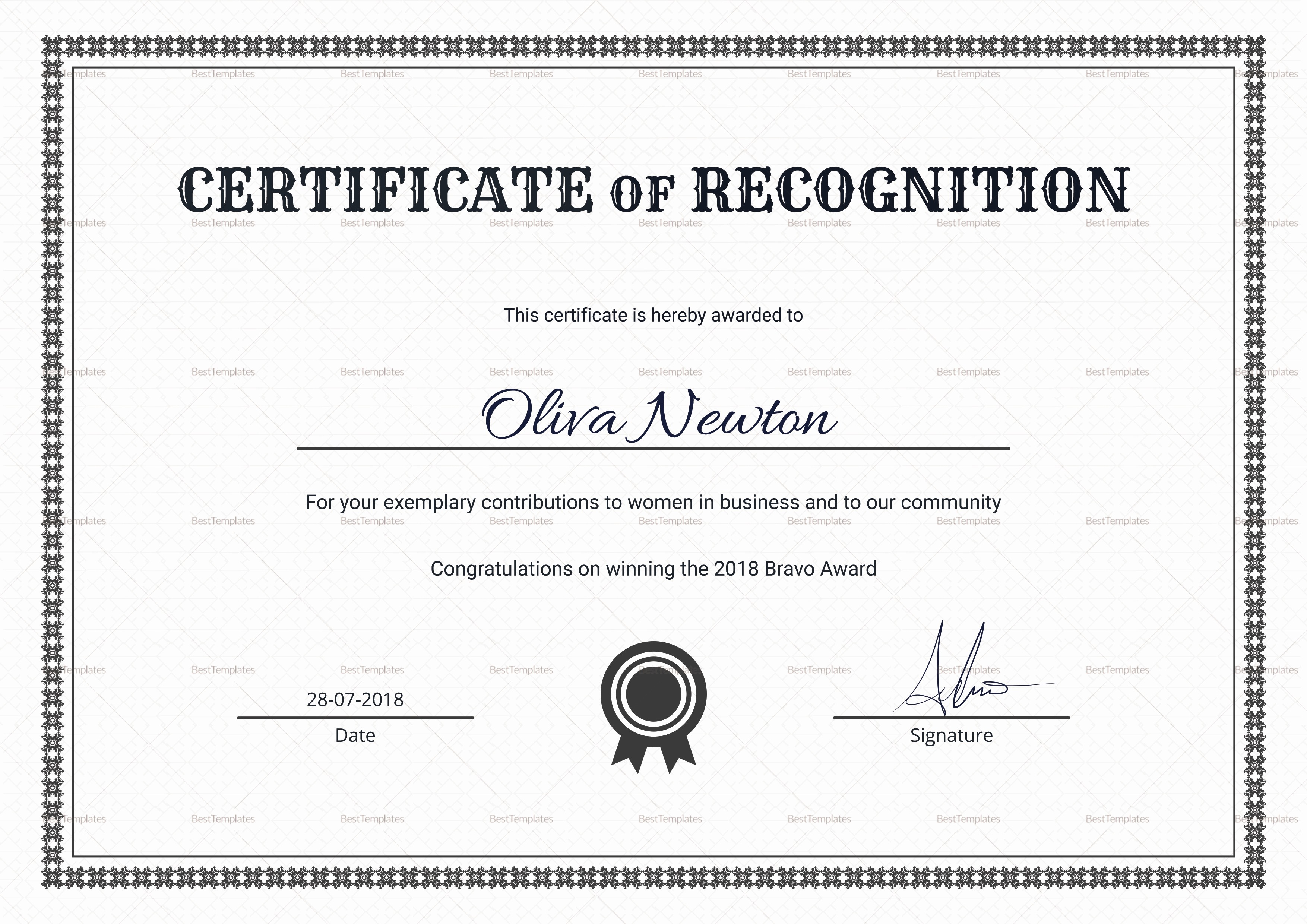 Certificate Of Recognition Template Word Inspirational Simple Certificate Of Recognition Design Template In Psd Word