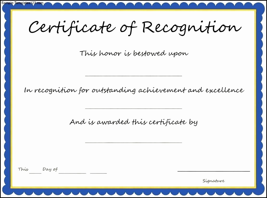 Certificate Of Recognition Template Word Lovely Army Certificate Achievement Template Example Mughals