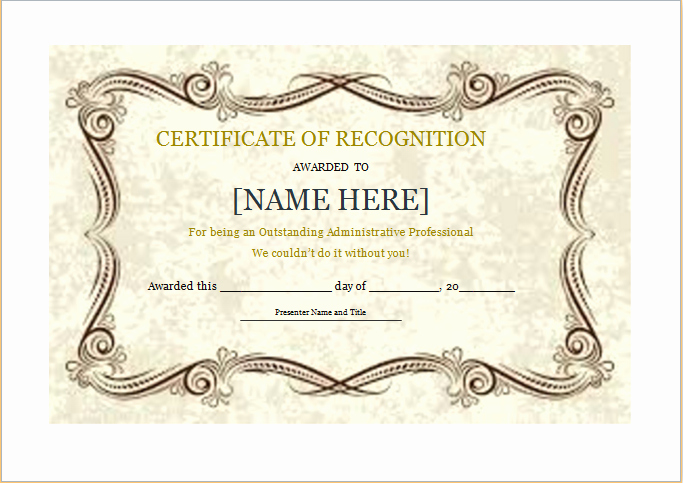 Certificate Of Recognition Template Word New Certificate Of Recognition Template for Word
