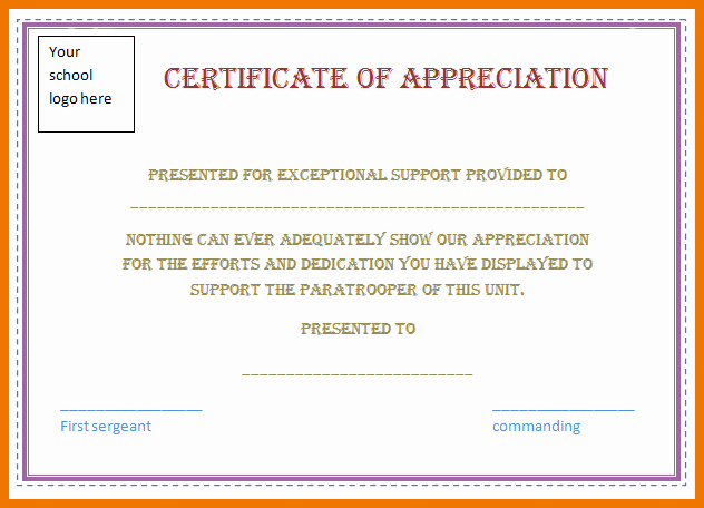 Certificate Of Recognition Template Word Unique Certificate Appreciation Template Word Doc Templates Data