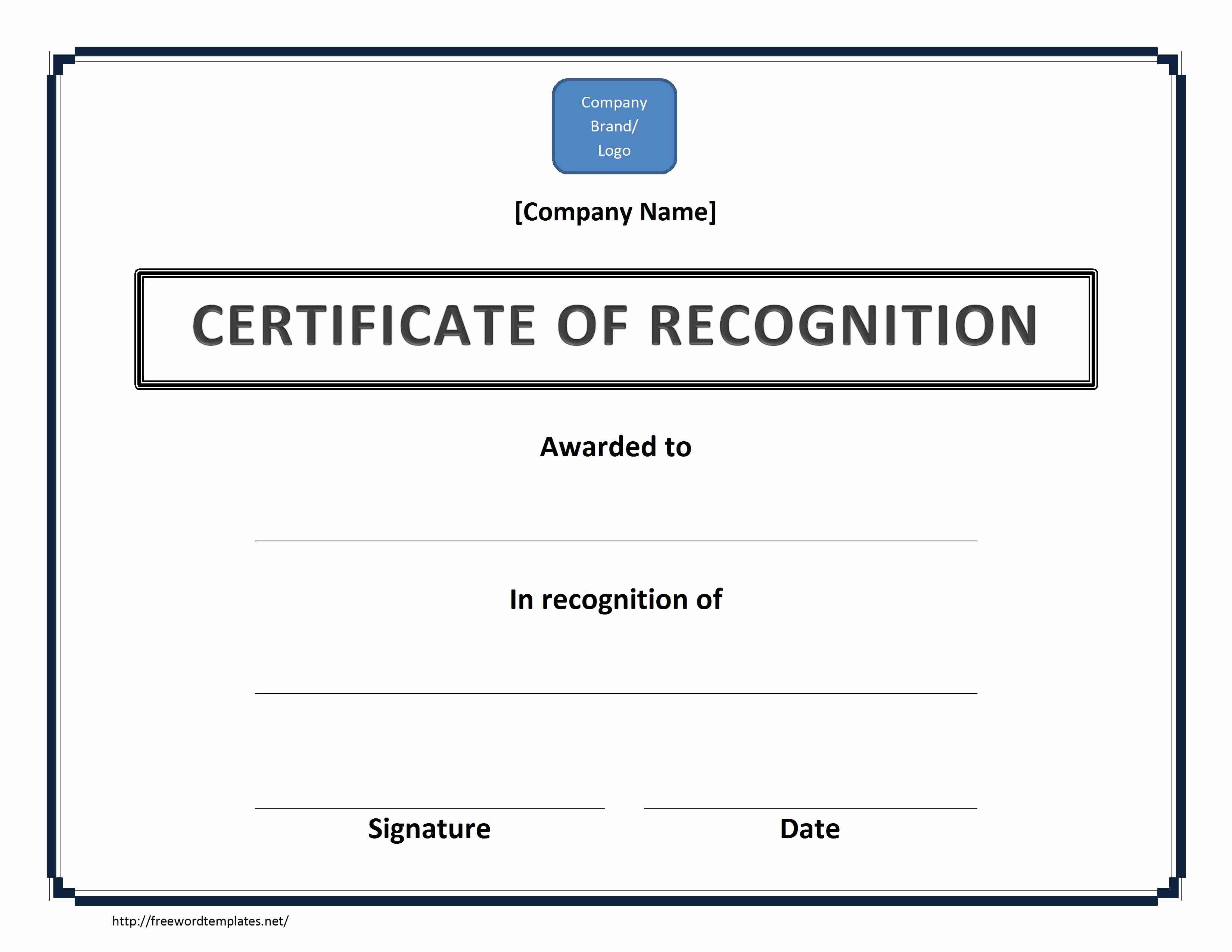 Certificate Of Recognition Template Word Unique Certificate Of Recognition