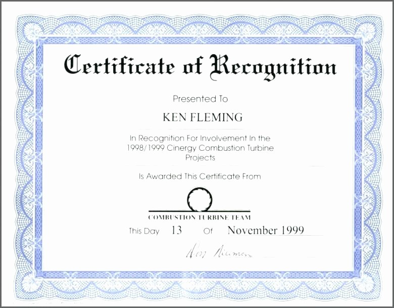 Certificate Of Recognition Template Word Unique Certificate Recognition Template Word Doc Award