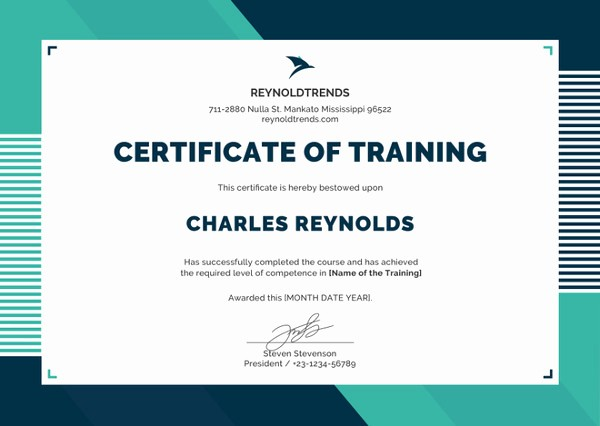 Certificate Of Training Template Word Beautiful 27 Training Certificate Templates Doc Psd Ai