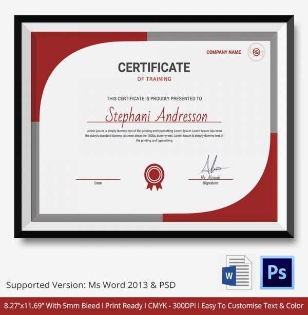 Certificate Of Training Template Word Best Of Training Certificate Template 21 Free Word Pdf Psd