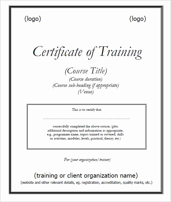 Certificate Of Training Template Word Inspirational 6 Free Training Certificate Templates Excel Pdf formats