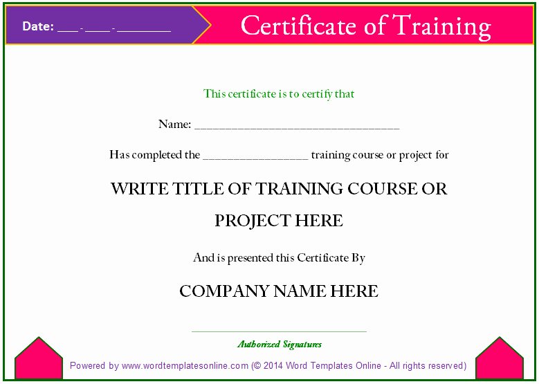 Certificate Of Training Template Word Inspirational Professional Training Certificate Templates