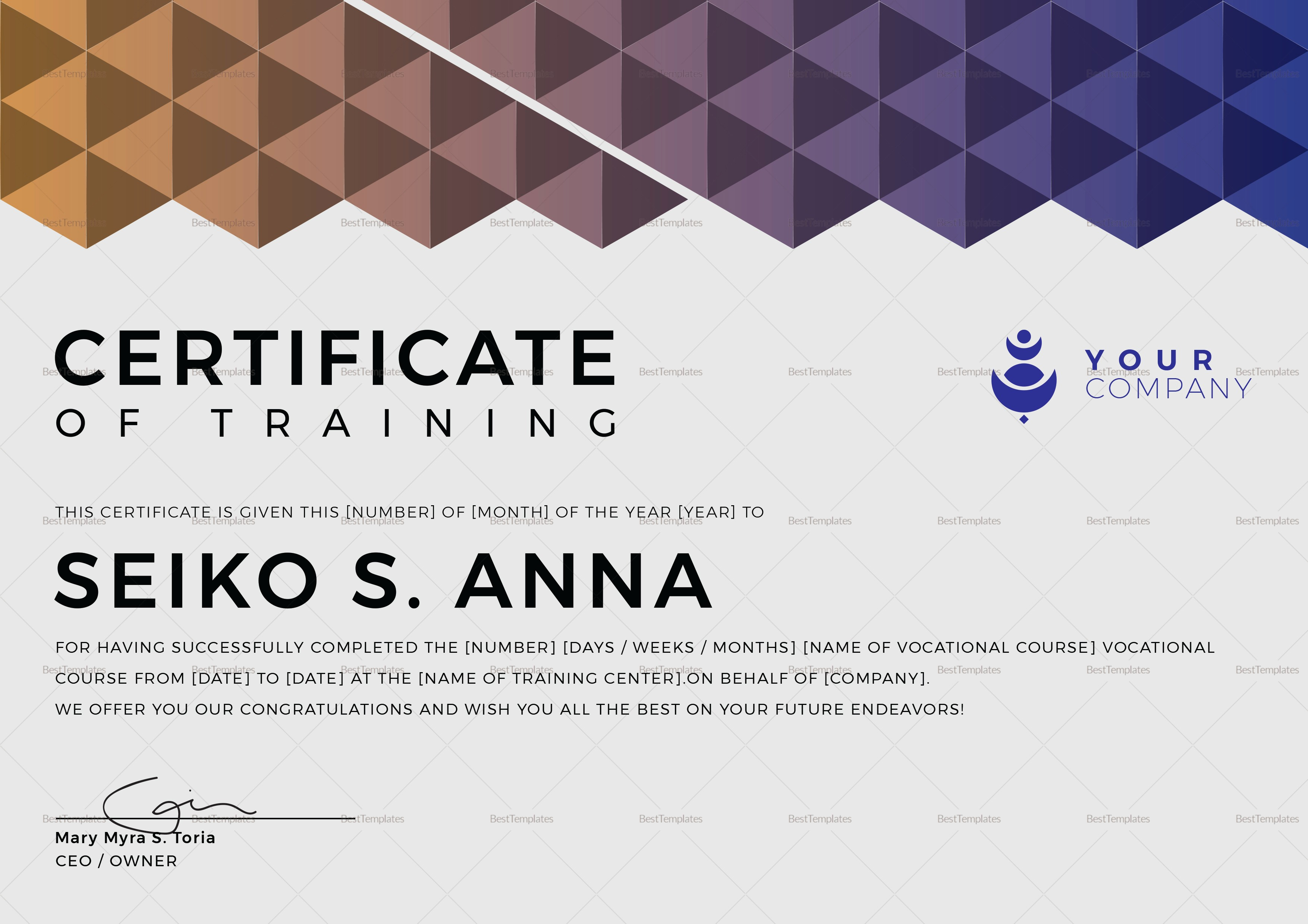 Certificate Of Training Template Word Inspirational Vocational Training Certificate Design Template In Psd