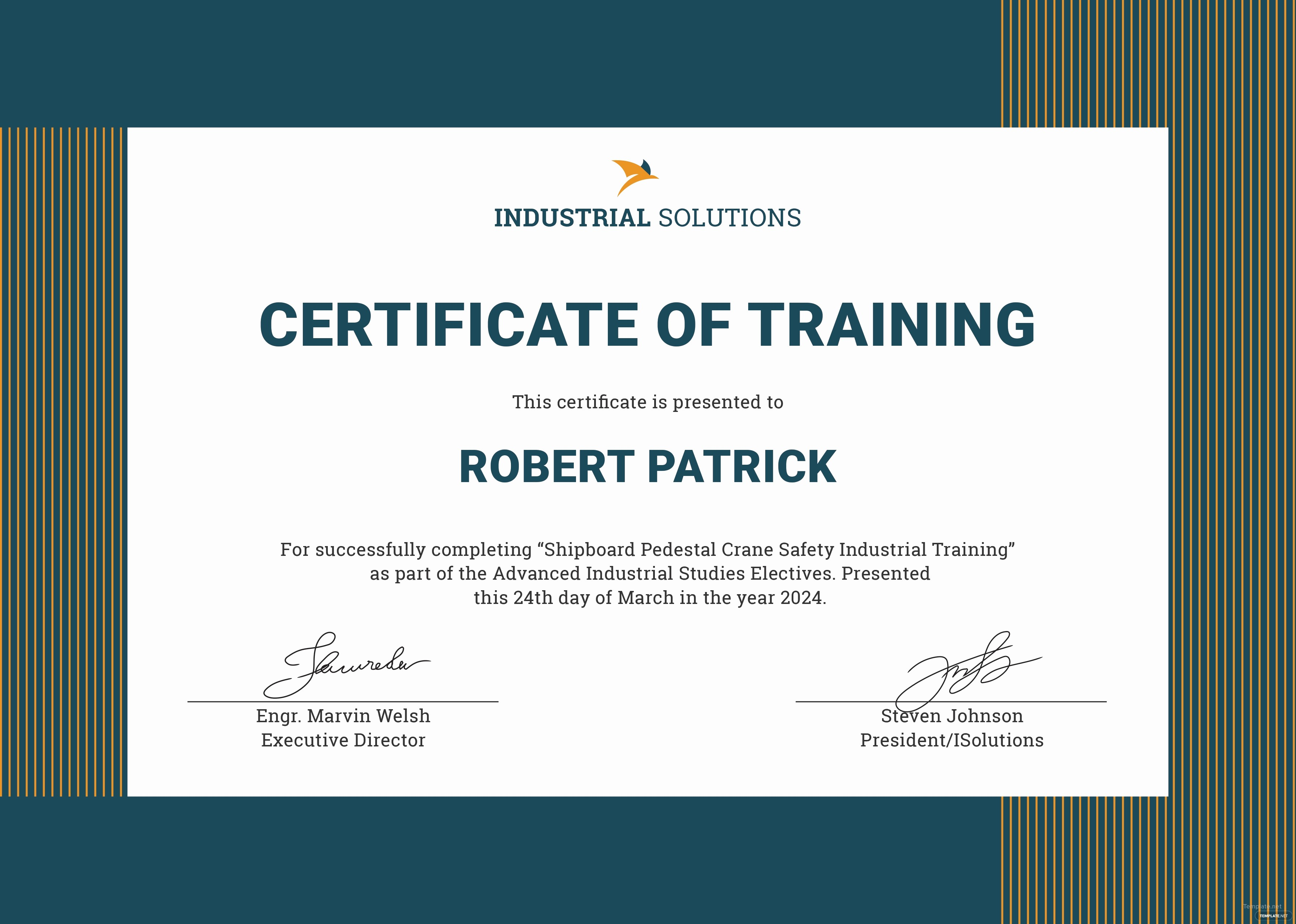 Certificate Of Training Template Word Lovely Free Industrial Training Certificate Template In Adobe