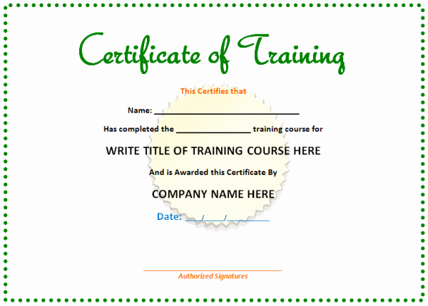 Certificate Of Training Template Word Luxury Training Certificate Template