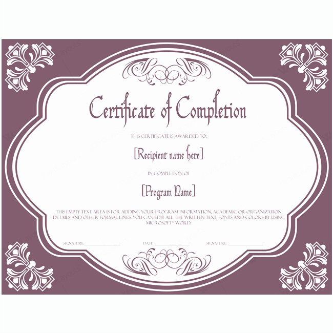 Certificate Templates for Microsoft Word Elegant Certificate Of Pletion 09 Word Layouts