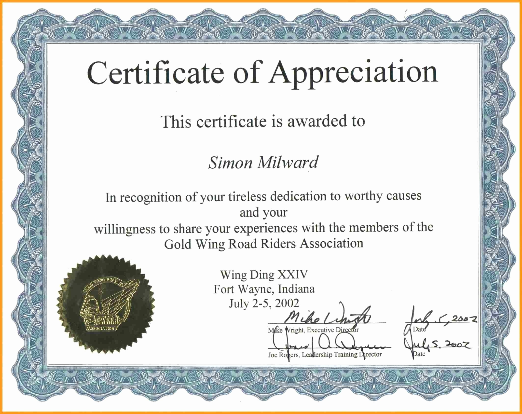 Certificate Templates for Microsoft Word Fresh Certificate Appreciation Template Word