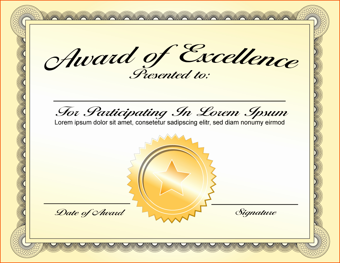 Certificate Templates for Microsoft Word Inspirational Award Certificate Template for Word