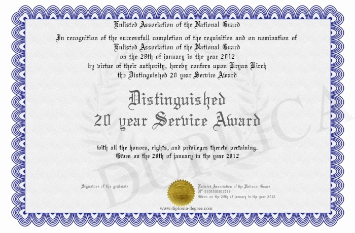 Certificates for Years Of Service Awesome 25 Of 20 Years Service Certificate Template