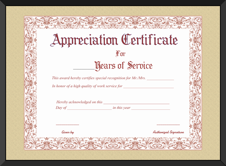 Certificates for Years Of Service Awesome Free Printable Appreciation Certificate for Years Of Service