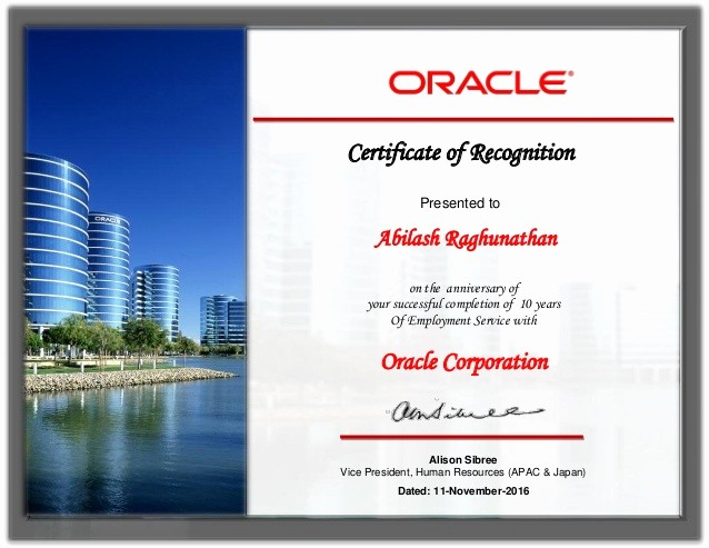 Certificates for Years Of Service Beautiful oracle 10 Years Service Award Certificate