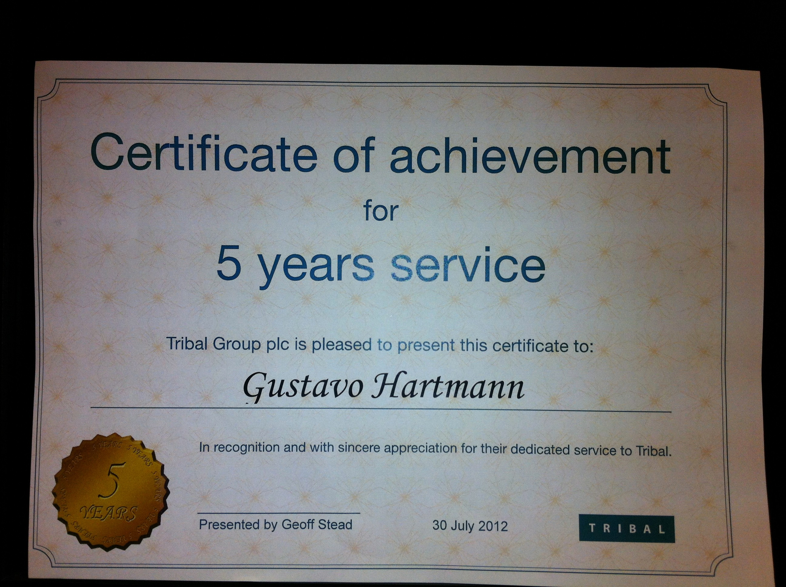 Certificates for Years Of Service Beautiful Tribal Awards Service Uk