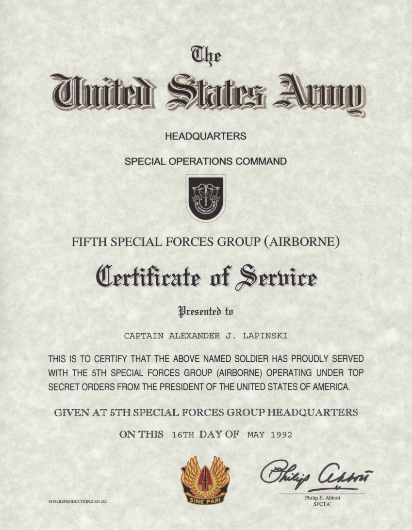Certificates for Years Of Service Beautiful Us Special forces Certificate Of Service