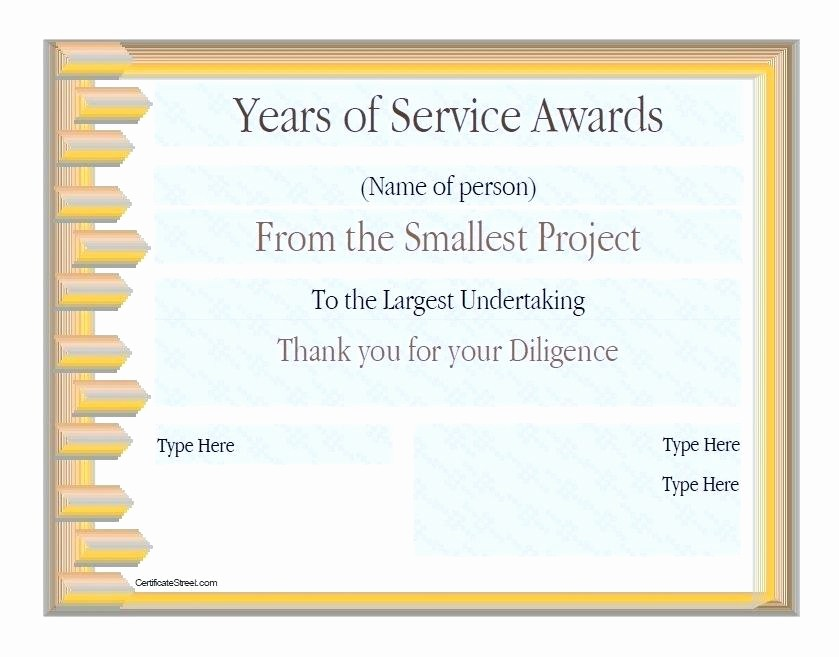 Certificates for Years Of Service Beautiful Years Service Award Certificate Templates Awards Free