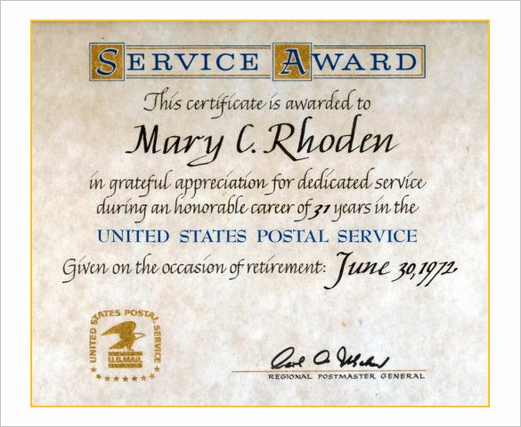 Certificates for Years Of Service Elegant 9 Retirement Certificate Templates Doc Pdf