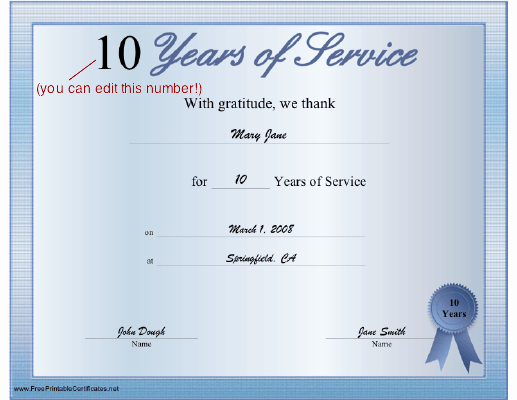 Certificates for Years Of Service Elegant A Printable Certificate Thanking the Recipient for Any